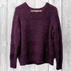 Chenille Textured Fuzzy Striped Sweater